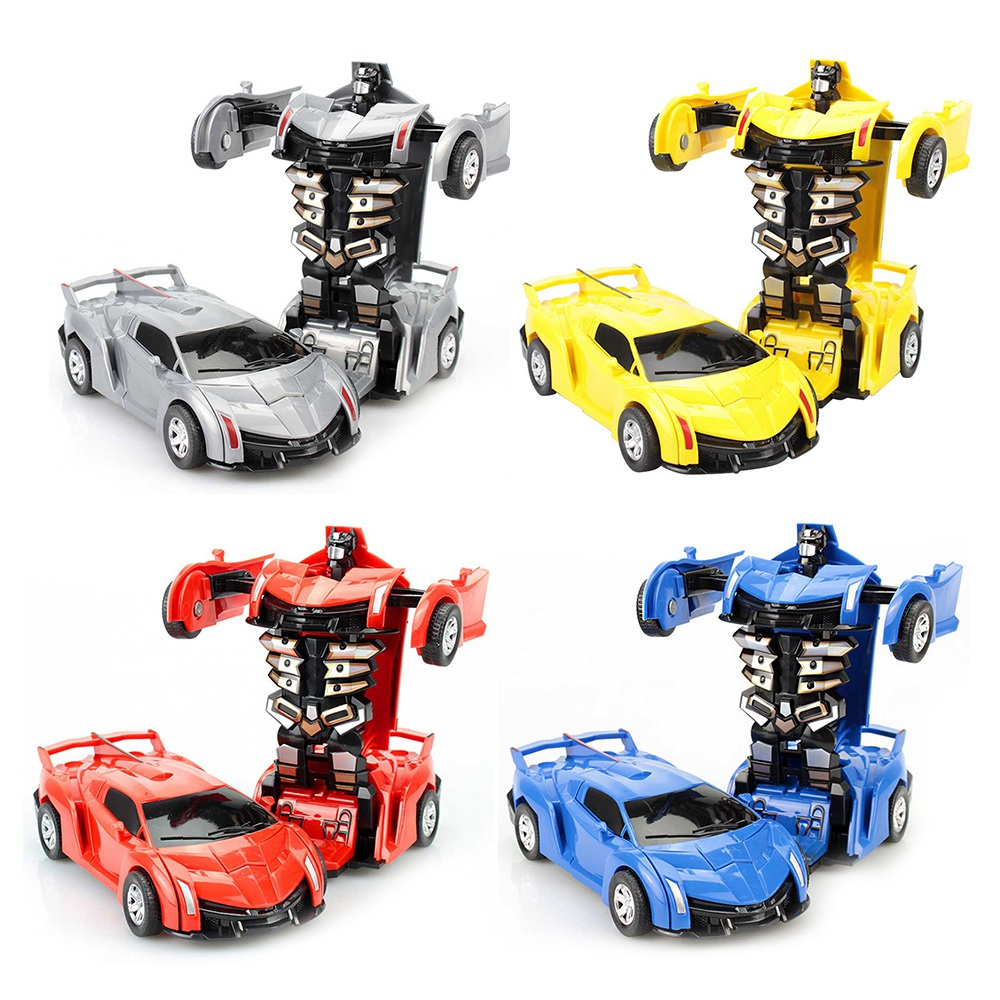 Collision Automatic Deformation Pull Back Car Robot Simulation Transformation Vehicle Models Toys Christmas Gifts For Boys Kids