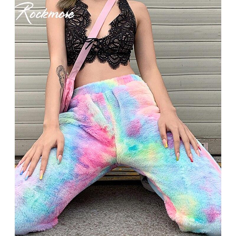 Rockmore Tie Dye Furry Harajuku Pants Women Joggers Streetwear Trousers Loose Wide Leg Sweat Pants SweatPants Femme Plus Size
