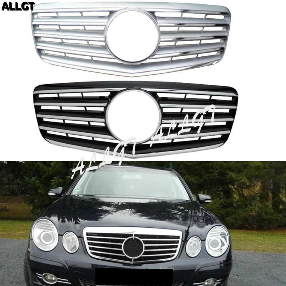 For <font><b>Mercedes</b></font>-Benz E-Class <font><b>W211</b></font> E200 E240 E280 E320 2007 2008 2009 Front Center <font><b>Grille</b></font> Bumper Black Silver Trim image