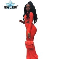 Orange Bodycon OverallsSexy Backless for Women Long Sleeve Waist Band Cut Out Jumpsuit Party Club Plus Size One Piece Rompers