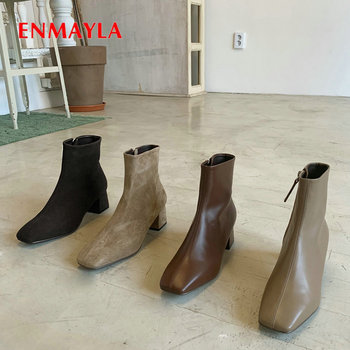 ENMAYLA 2019 Genuine Leather Slip-On Chelsea Boots Square Toe Women Boots Fashion Ankle Boots for Women Short Plush Women Shoes