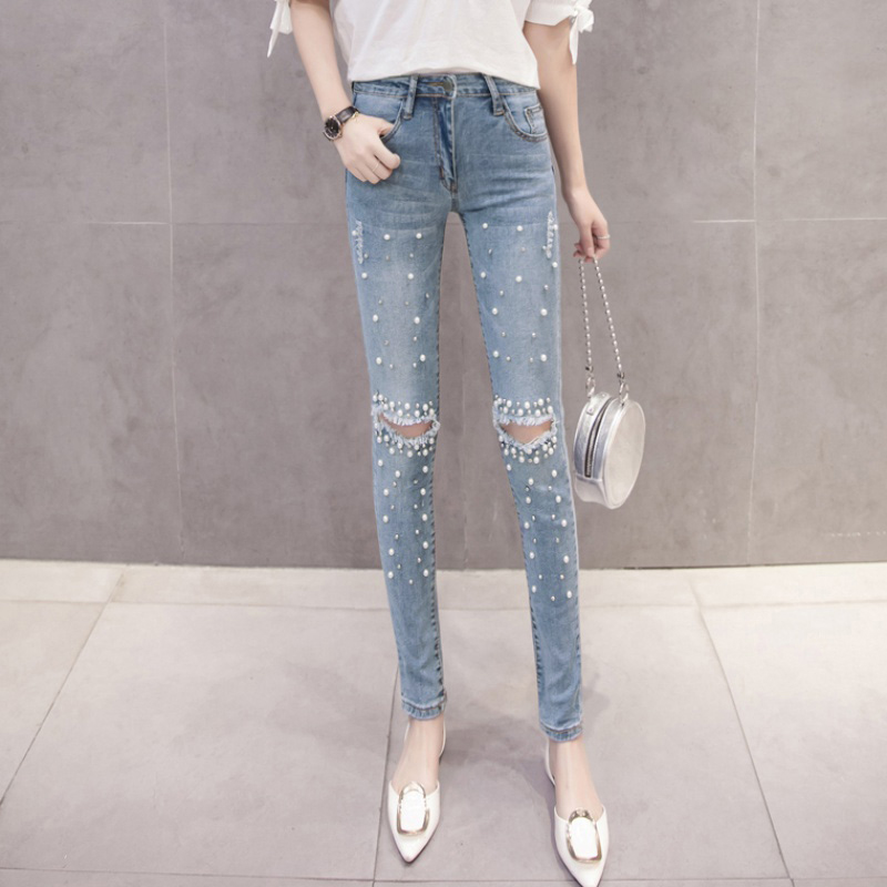 Women Pencil Jeans Washed Denim Pant Beading Ripped Holes Mid Waist Pockets Zipper Distressed Casual Skinny Pants Trousers 2019 Jeans Women Bottom ! Plus Size Women's Clothing & Accessories