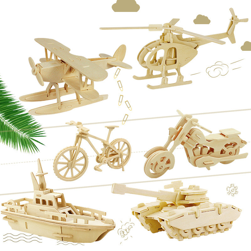 3D DIY Wooden Puzzle Toy Military Series Tank Vehicle Animals Etc Model Set Creative Assembled Education Toys For Children Kids