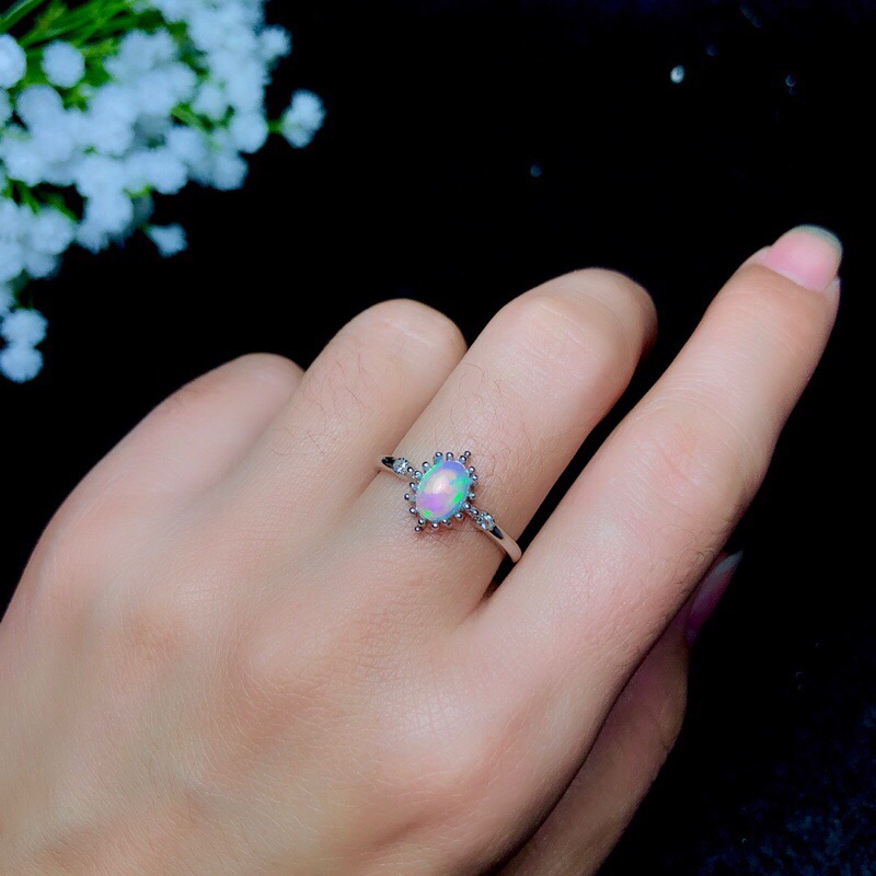 LeeChee Genuine Opal Ring For Young Girl 5*7mm Colorfull Gemstone Fine Jewelry Real 925 Sterling Silver For Women Birthday Gift