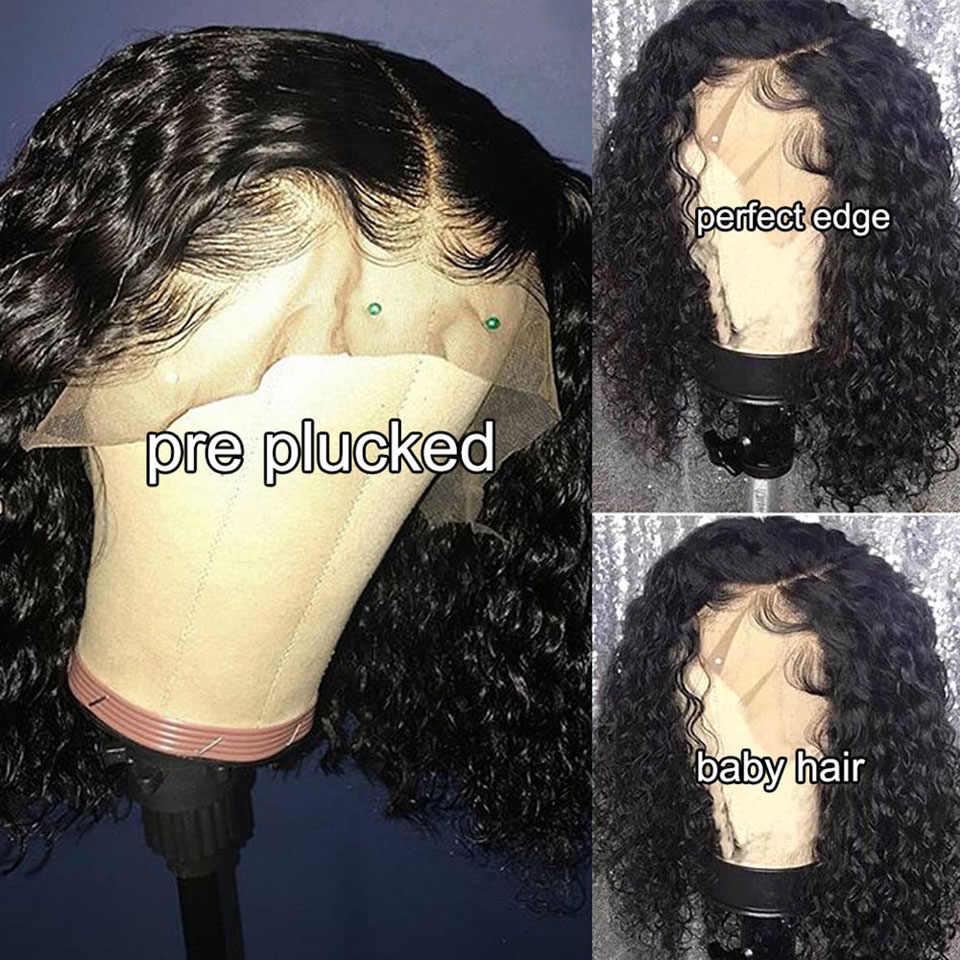 Afro perwersyjne kręcone bob peruka koronki przodu peruki z ludzkich włosów krótki bob peruki z ludzkich włosów kręcone ludzkie włosy peruka zamknięcie koronki peruka brazylijski
