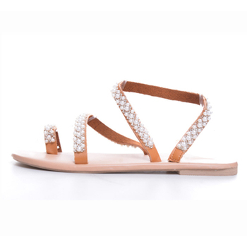 Summer Flat Sandals Sweet Boho Pearl Decoration Sandals Leather Flats Plus Size Women Beach Sand Holiday Shoes 5
