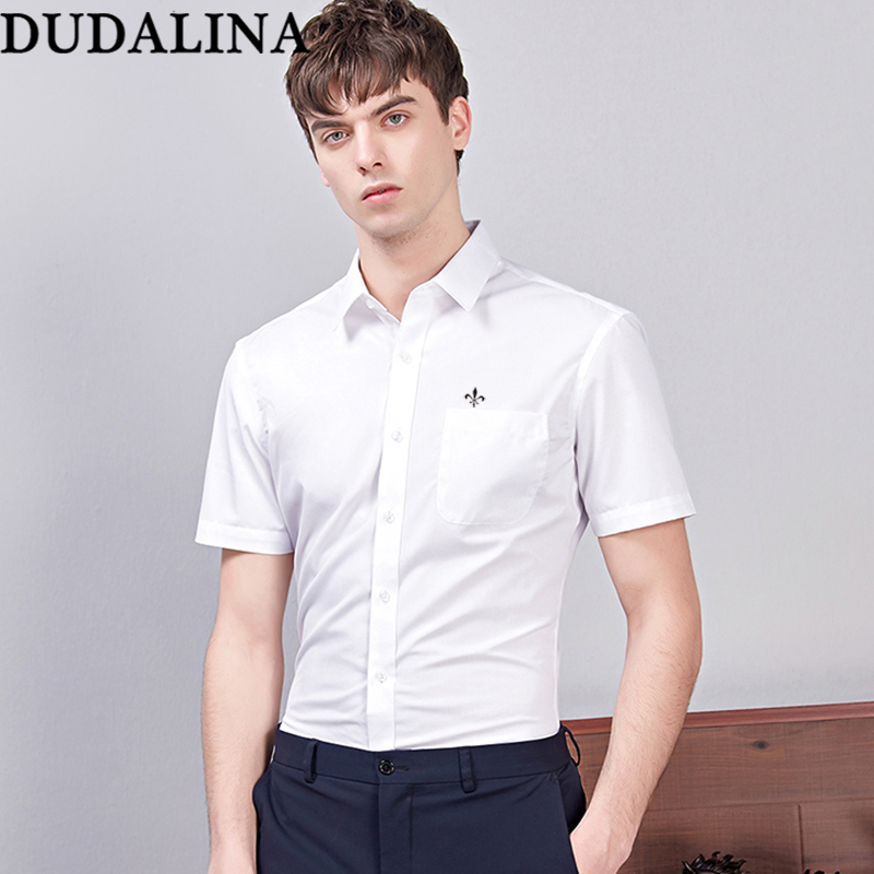 Dudalina Shirt Male Solid Shirt Brand Clothing Pocket Mens Short Sleeve Shirt Plus Size Slim Fit Shirt Casual Men Clothes 9XL
