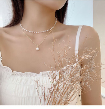 New Spring and Summer Fashion Simple Pearl Necklace Cool Non-mainstream Design Double Layer Necklace Ladies' Sweet Pearl Choker sweet faux pearl pendant simple design necklace for women