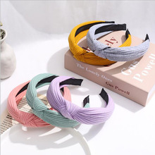 TWDVS 1PC Solid Soft Knotted Headband Women Hairbands For Lady Turban Wide Simple Hair Hoop Girls Hair Accessories Headwear cheap CN(Origin) Polyester Cotton Adult Fashion w--141 green red blue black grey yellow purple while the four seasons opp bag package or card package
