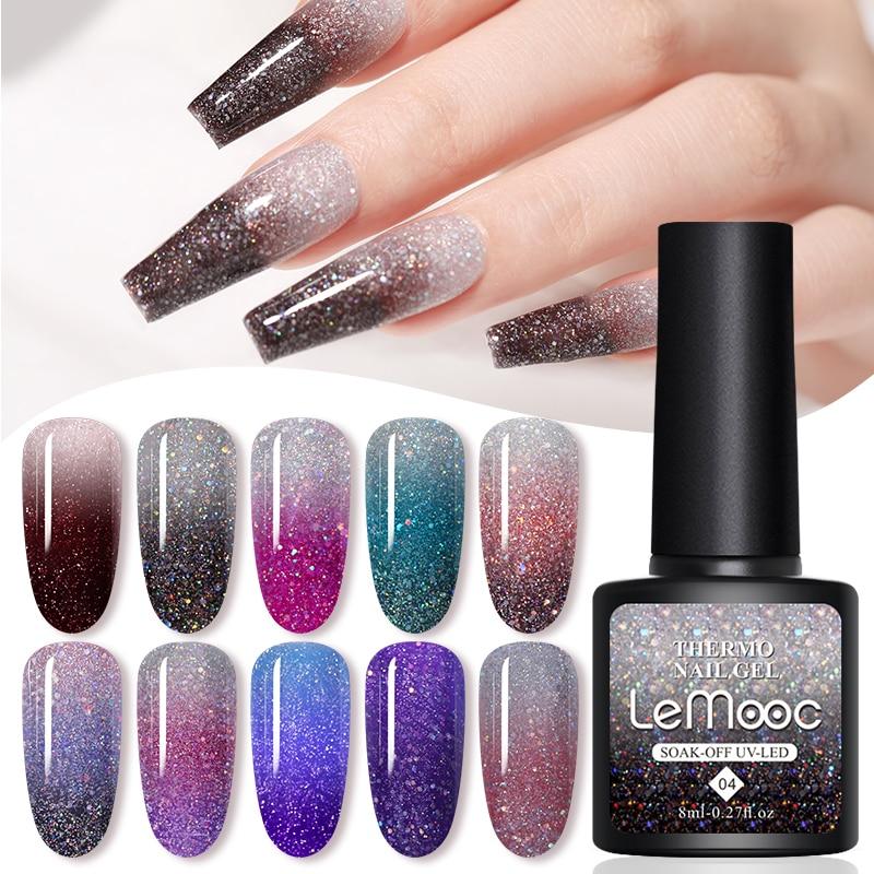 LEMOOC 8 мл УФ-гель для ногтей термальный Гель-лак для ногтей отмачиваемый Полупостоянный Гель-лак меняющий цвет при температуре