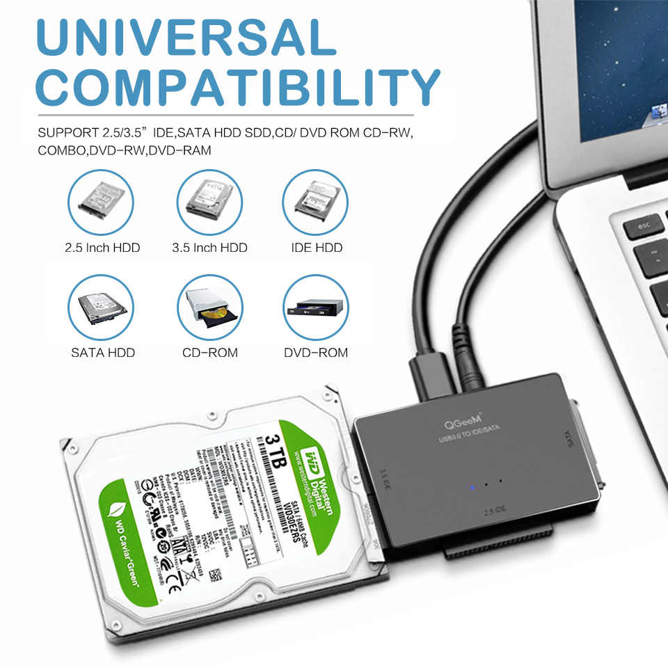 QGeeM SATA na USB Adapter IDE USB 3.0 Sata 2.5 3.5 napęd dysku twardego HDD SSD konwerter USB IDE SATA na USB Adapter SATA kabel