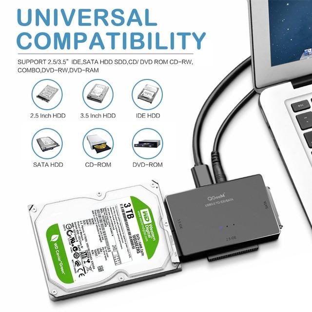 QGeeM SATA to USB IDE Adapter USB 3.0 Sata 2.5 3.5 Hard Disk Drive HDD SSD USB Converter IDE SATA to USB SATA Adapter Cable