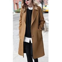 Женская зимняя куртка, модная новая верхняя одежда, пальто с отворотом на пуговицах, длинный Тренч, Женское пальто, женское повседневное пальто размера плюс