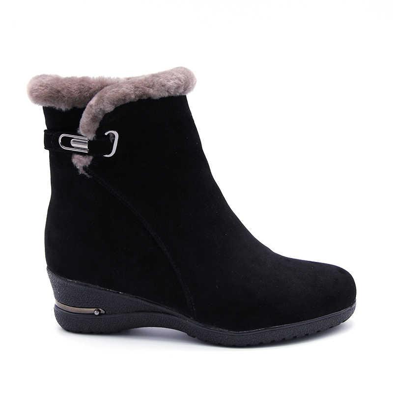 Mùa Đông 2019 Thời Trang Mùa Đông Ấm Áp Giày Nữ Da Thật Len Lông Ấm Áp Mắt Cá Chân Ủng Nữ Đeo Chéo Nêm Nền Tảng giày