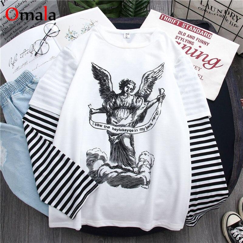 Весна 2020, harajuku футболка с длинным рукавом, женская уличная футболка в стиле хип-хоп, корейские полосатые футболки с мультяшным принтом, розо...