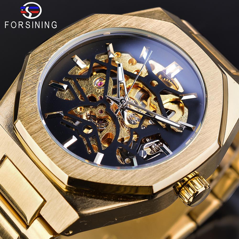 Forsining Top Brand Luxury Man Wristwatch Skeleton Fashion Mens Watch Automatic Mechanical Waterproof Gold Stainless Steel Clock