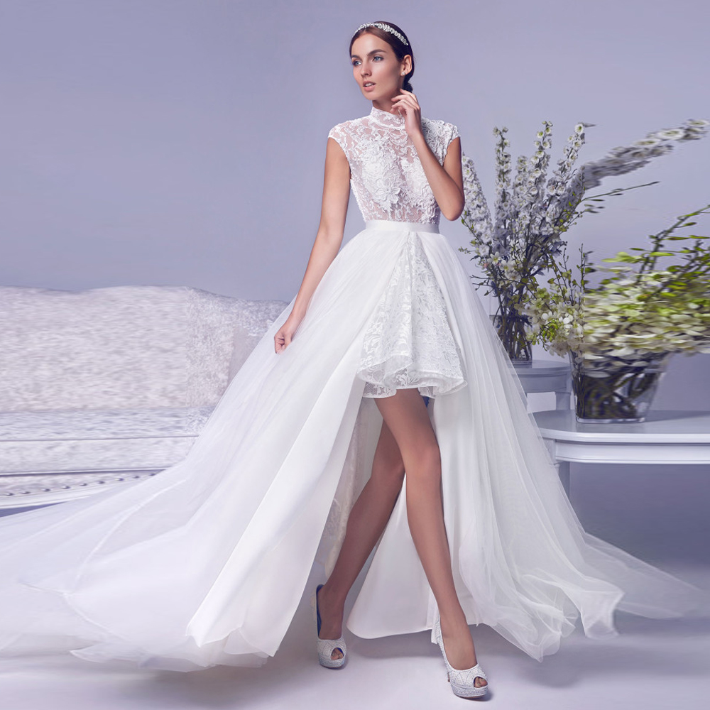 Ball Gown 2018 Backless Puffy Lace Bride Bridal Gowns Vestido De Noiva With Detachable Brush Train Mother Of The Bride Dresses