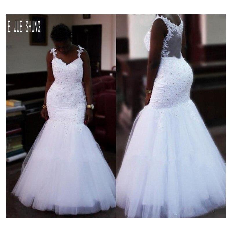 E JUE SHUNG African Beaded Mermaid Wedding Dresses Spaghetti Strap Sheer Back Bridal Gowns Bride Dresses Vestido De Noiva
