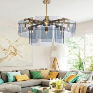 Glass Lustre Chandelier Luminaires Indoor Hanging Lamps Lighting Fixtures Lamps Living Room Metal Nordic Luxury Plate Gray Amber