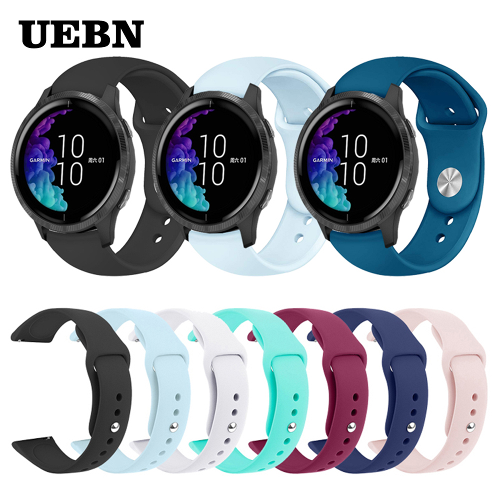 UEBN Sports Silicone Strap For Garmin Venu Band For GarminActive S &Move 3 3S Luxe Style Watch Replacement Bracelet Watchband