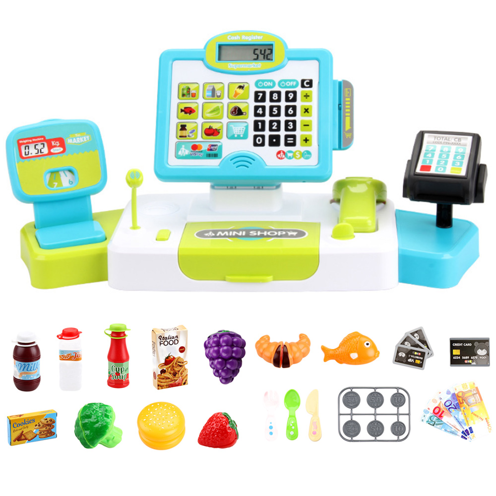 Electronic Supermarket Cash Register Kits Kids <font><b>Toy</b></font> Simulated Checkout Counter Role Pretend Play <font><b>Cashier</b></font> Shopping <font><b>Toys</b></font> Hot Sale image