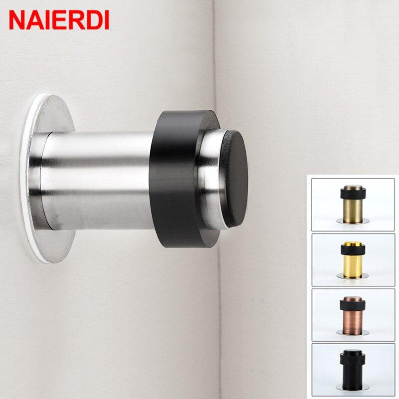 NAIERDI Stainless Steel Door Stopper Door Protective Pad Anti-Collision Protection Self Adhesive Round Door Stops Wall Protector