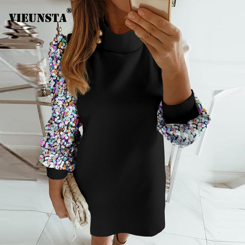 Office Lady Dress Elegant Button Turtleneck Autumn Winter Dress Women New Fashion Sequins Long Sleeve A-Line Party Dress Vestido
