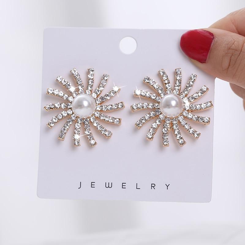 Women Bijoux Simulated Pearl Crystal Studs Earrings Women Lover Geometric Gold Vintage Earring Korean Statement Jewelry