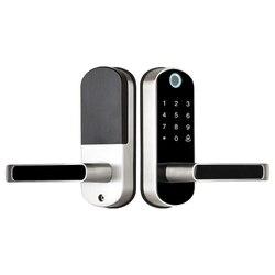 Fechadura da porta eletrônica wifi com tuya app remotamente/campainha da porta/biométrico impressão digital/cartão inteligente/senha/chave de desbloqueio