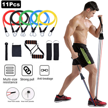 11pcs/set Pull Rope Fitness Exercises Resistance Bands Latex Tubes Excerciser Body Training Gym Home Workout Yoga Elastic Bands image