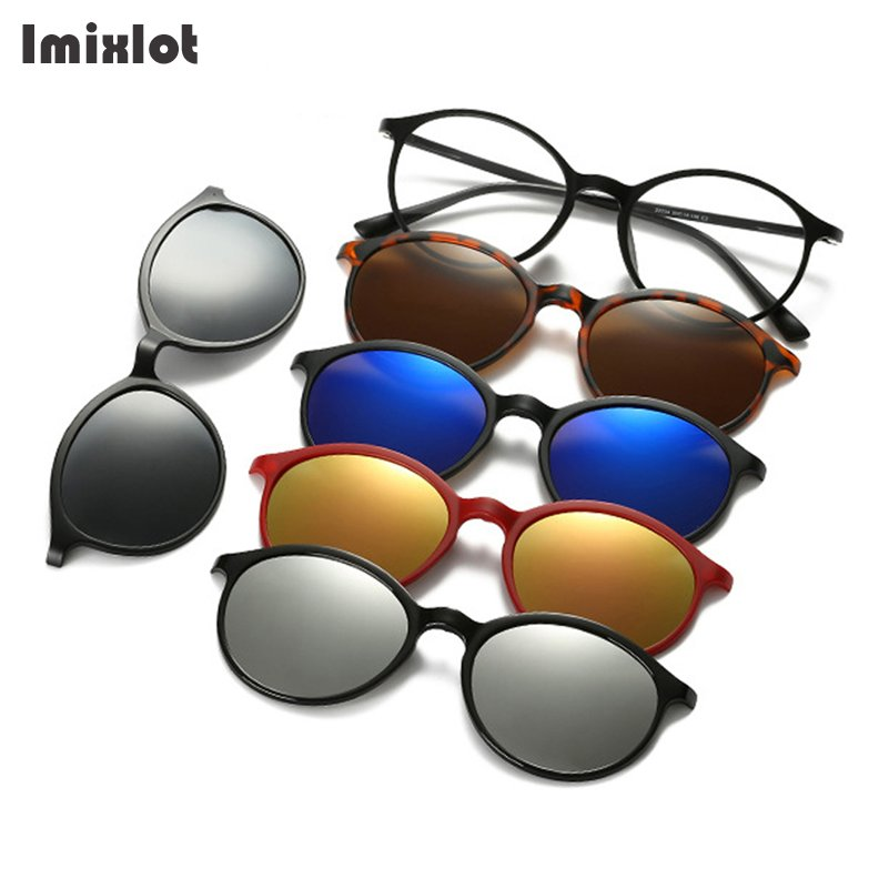 Imixlot <font><b>5</b></font> <font><b>Lens</b></font> <font><b>Magnet</b></font> <font><b>Sunglasses</b></font> <font><b>Clip</b></font> Mirrored <font><b>Clip</b></font> on <font><b>Sunglasses</b></font> <font><b>Clip</b></font> on Glasses Men Polarized <font><b>Clip</b></font> Custom Prescription Myopia image