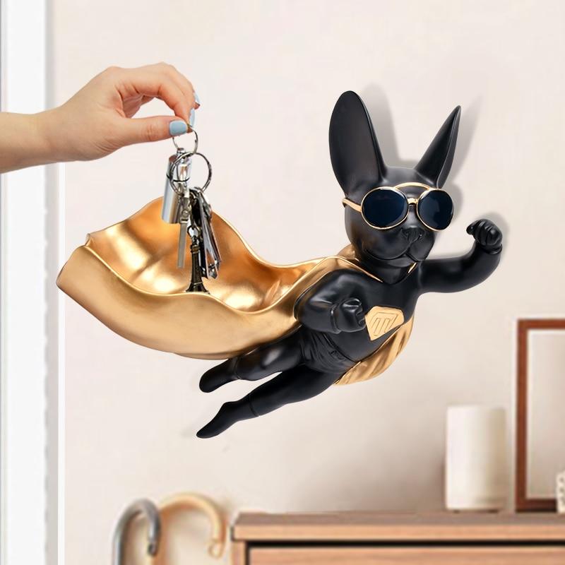 Superman Dog Wall Hanging Candy Box Wall Decoration Lucky Dog Creative Key Animal Storage Box Home Decoration X3334