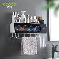 ECOCO Neueste Wand Montieren Zahnbürste Tasse Halter Multi-Funktionellen Badezimmer Zubehör Organizer Rack mit Handtuch Bar Haken