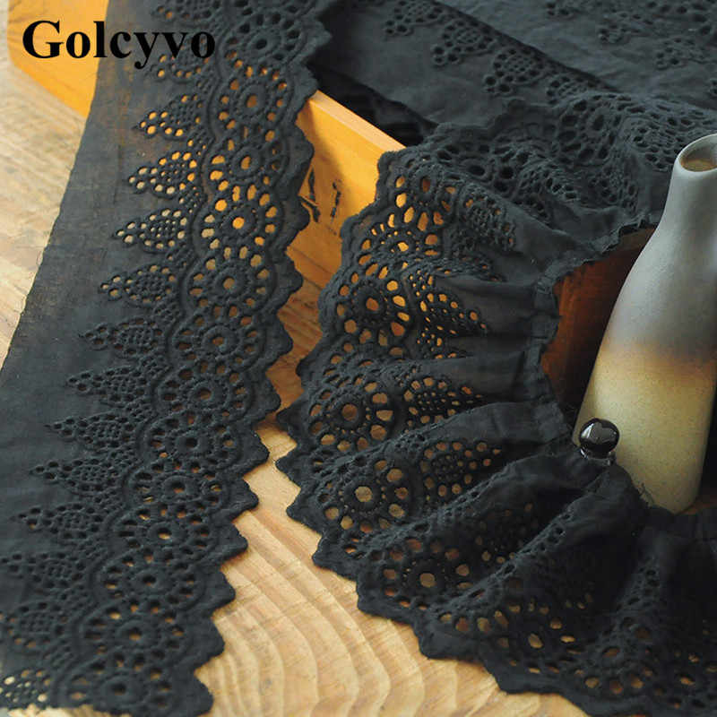 1Meter Black Purified Cotton Trims Cotton Thread Hollow Embroidered Box Pleat Ribbon Lace Dress Sewing 8.5cm Width
