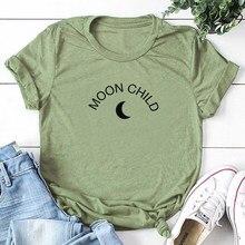 Lua criança carta impressão tshirt amor amigo inspirar camiseta algodão camisas de verão estéticas mulheres streetwear menina topos navio da gota