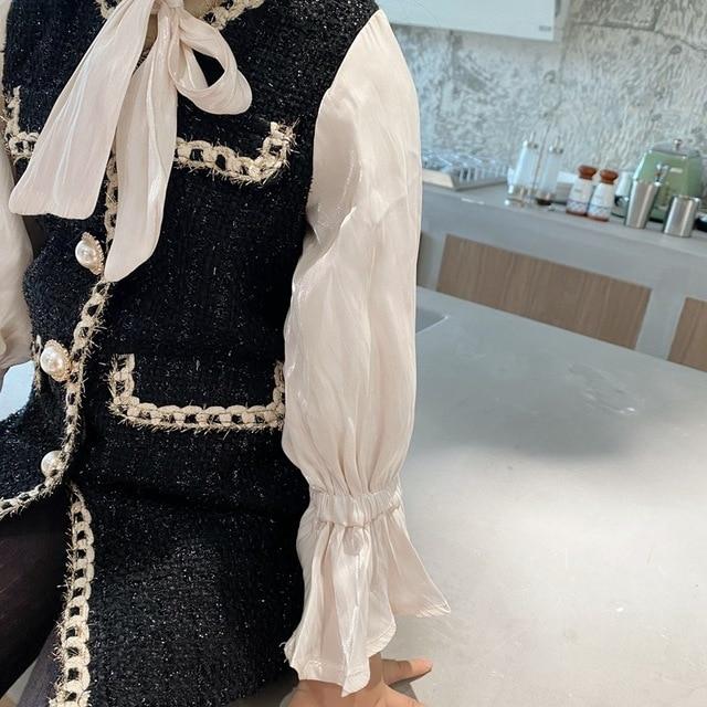 2020 Autumn New Arrival Girls Fashion Tweed Dress Kids Long Sleeve  Dresses  Girls Princess Dress 4