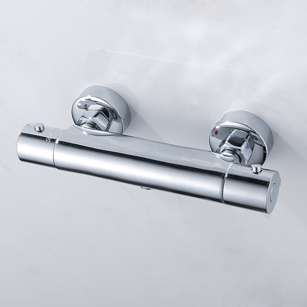 Bath Shower Faucet Thermostatic Faucet Wall Mounted Mixer Valve Tap Temperature Control Rain Shower Chrome Bathroom Twin Outlet