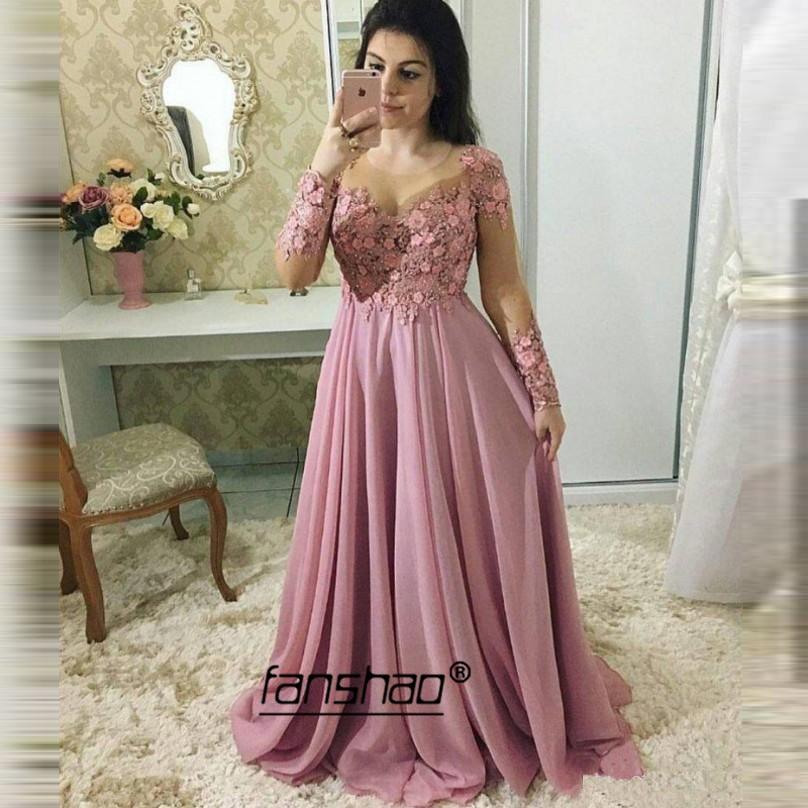 Cheap Evening Dresses Applique Full Sleeve Chiffon Deep-v Pink Dubai Saudi Arabic Evening Gown Boho Prom Dress