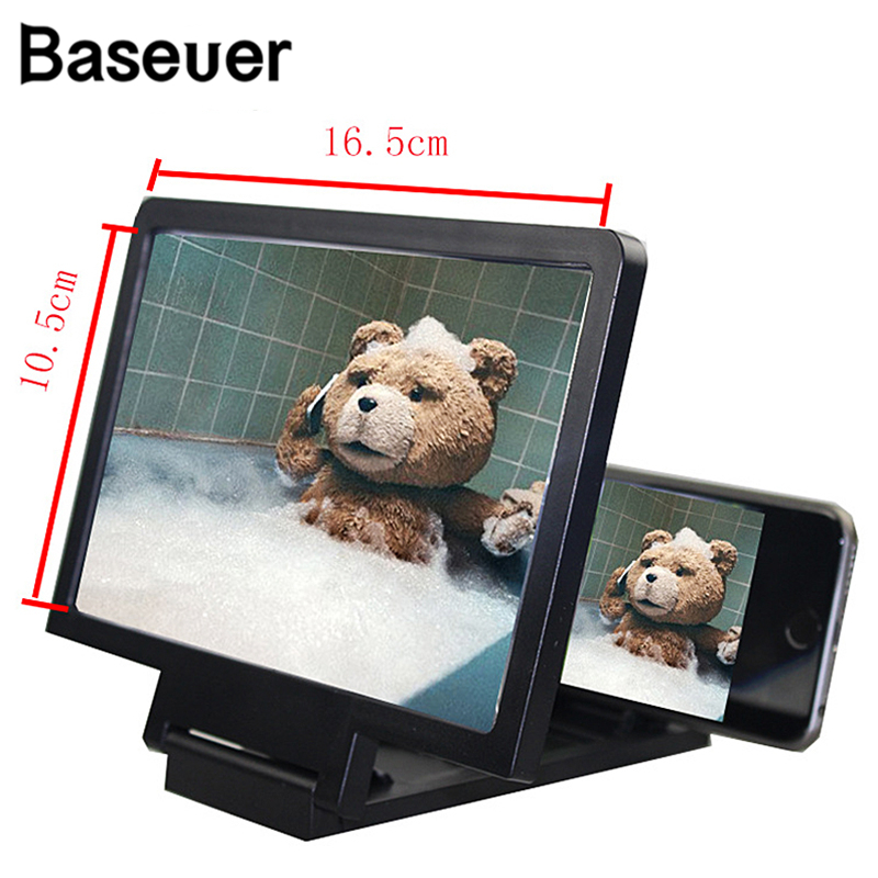 Baseuer 3D Screen Amplifier Phone Magnifying HD Stand For Video Folding Screen Enlarged Eyes Protection Enlarged Expander Holder