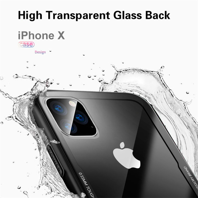 Tempered Glass Case For iPhone 12 12Pro 11 Pro X XR XS Max SE2 High Quality Clear Soft Silicone Glass Cover For iPhone 7 8 Plus 3