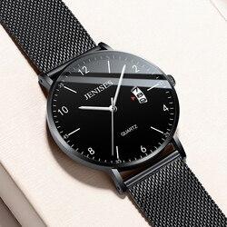 Jenises męskie zegarki Top marka luksusowe mężczyźni kwarcowy zegarek Ultra cienki zegarek 2019 mężczyzna kalendarz biznesowy zegary horloges mannen w Zegarki kwarcowe od Zegarki na