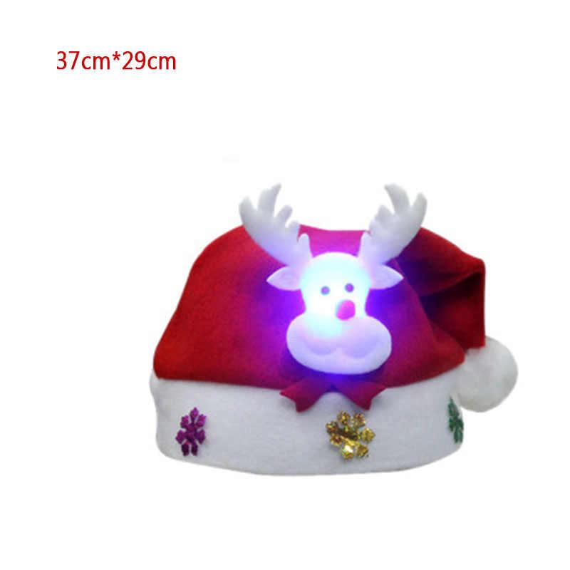2020 LED Luminous คริสต์มาสหมวกคริสต์มาสตกแต่งเด็กผู้ใหญ่หมวกวันหยุดปีใหม่ Props PARTY Supplies