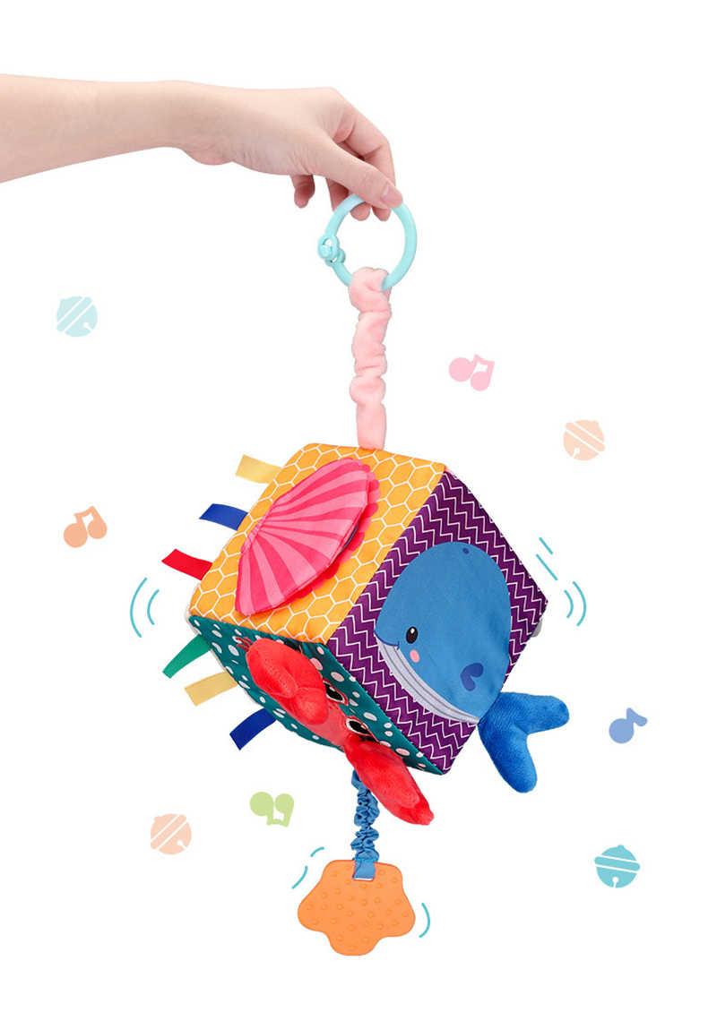 Newborn Plush Block Clutch Cube Rattle Baby Infant Mobile Educational Toys T
