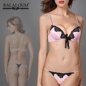 Image 2 - Balaloum Nữ Thanh Lịch Sâu Gợi Cảm V Đẩy Lên Áo Ngực Và Quần Bộ Ren Hoa Nơ Liền Mạch Chữ G T Lưng Quần Đùi bộ Đồ Lót Ren