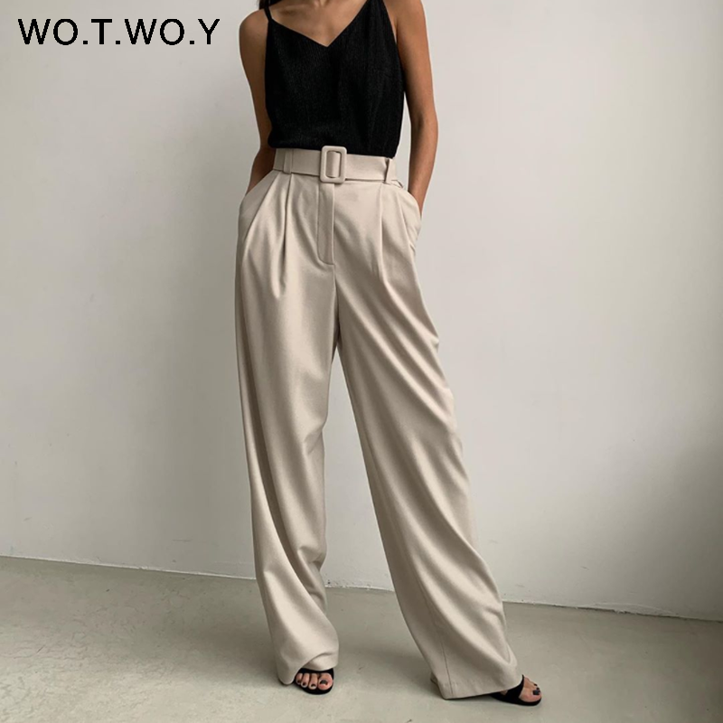WOTWOY 2020 High Waist Loose Straight   Pants   Women Summer Casual Pleated   Wide     Leg   Trousers Female Black Sashes Pockets Harajuku