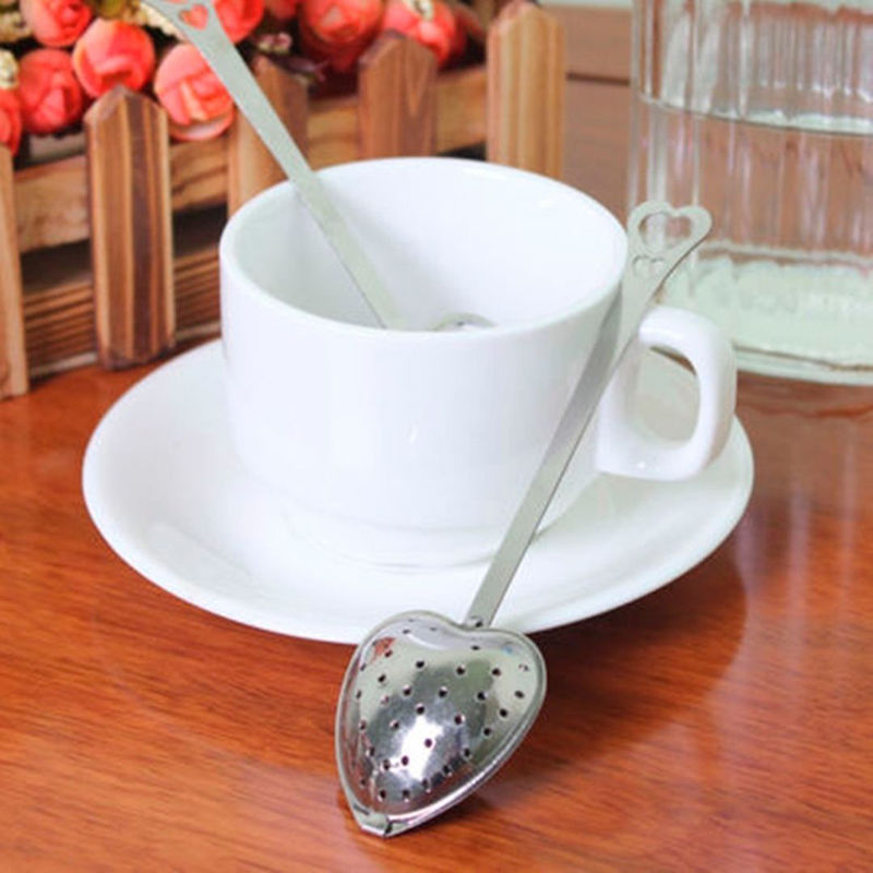 Fine Heart Shaped Tea Infuser Spoon Stainless Steel Tea Infuser Spoon Strainer Steeper Handle Shower Party Gifts