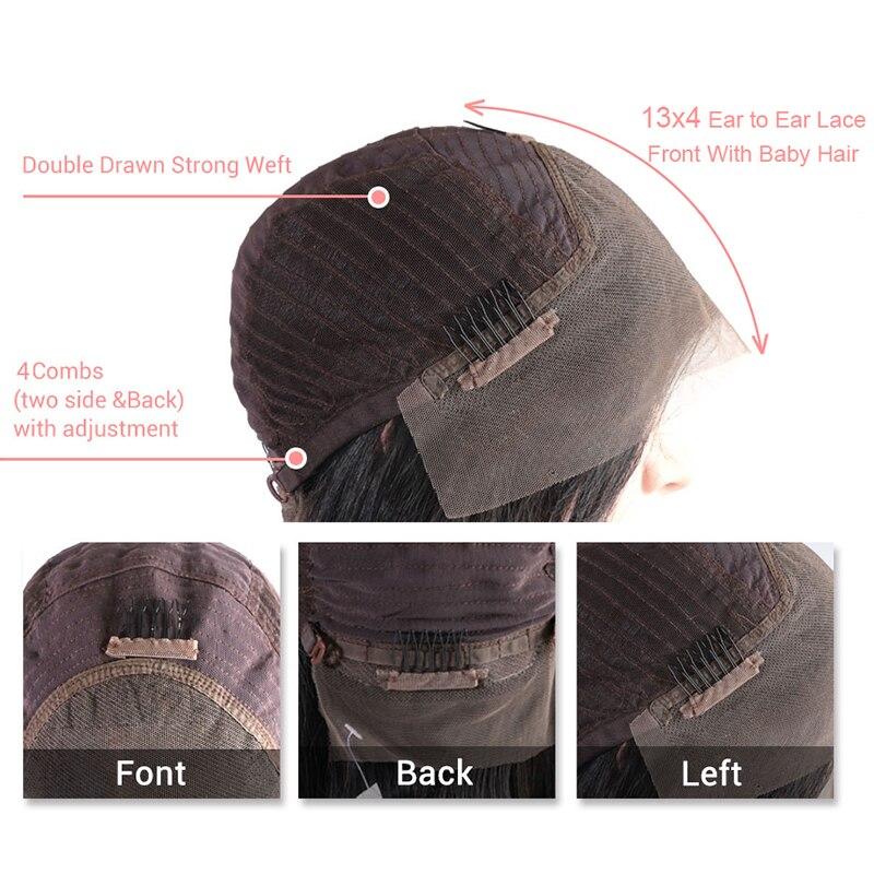 Ali Queen 13x4/13x6 Lace Front perruques 10A 150%/180%/200% densité brésilienne droite Remy cheveux naturel noir court Bob perruques - 5