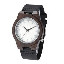 Fashion Men Wooden Round Dial Resin Band No Number Analog Quartz Wrist Watch rel