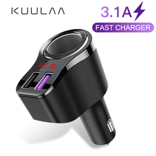 KUULAA Dual USB Car Charger Digital Display Cigarette Lighter 3.1A Fast Charging Adapter Charger For Xiaomi iPhone PD Car Charge car cigarette powered rotatable charging adapter charger for iphone ipod cell phone white