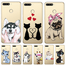 Cat dog cartoon For huawei Y5 Y6 II Prime Nova 2 3 4 3i Plus 2018 2017 phone case Cover Coque Etui funda etui capinha cute capa